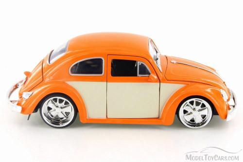 1959 Volkswagen Beetle Hard Top, Orange/White Panel - Jada 99049 - 1/24 Scale Diecast Model Toy Car