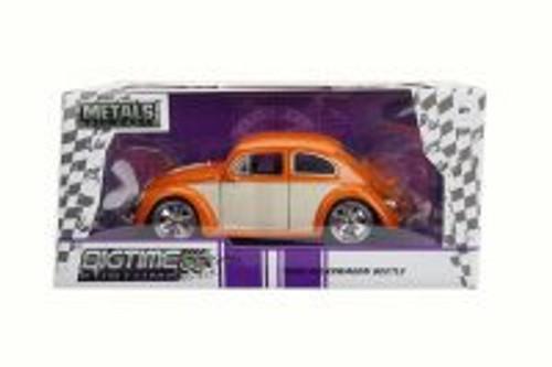 1959 Volkswagen Beetle Hard Top, Orange/White Panel - Jada 99018 - 1/24 Scale Diecast Model Toy Car