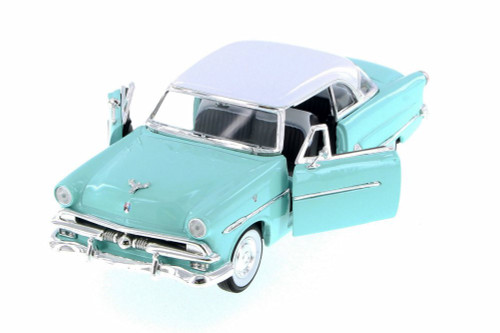 1953 Ford Crestline Victoria, Turquoise w/ White - Welly 22093WBU - 1/24 Scale Diecast Model Toy Car
