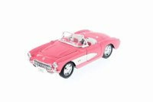 1957 Chevy Corvette Convertible, Pink w/ White - Welly 29393WPK - 1/24 Scale Diecast Model Toy Car