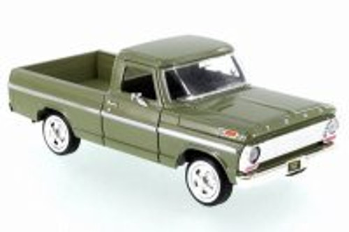 1969 Ford F-100 Pickup, Olive Green - Motor Max 79315/16D - 1/24 Scale Diecast Model Toy Car