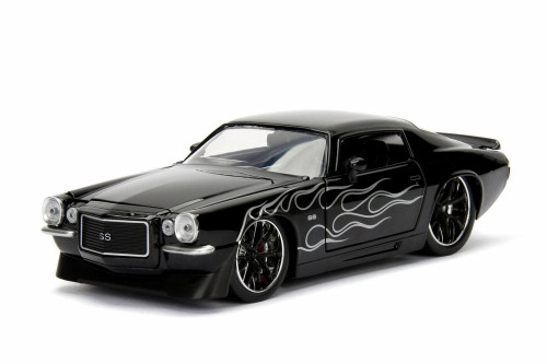 1971 Chevy Camaro, Black w/ Flames - Jada 99969WA1 - 1/24 Scale Diecast Model Toy Car