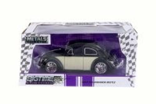 1959 Volkswagen Beetle Hard Top, Black/White Panel - Jada 99018 - 1/24 Scale Diecast Model Toy Car