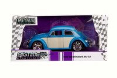 1959 Volkswagen Beetle Hard Top, Blue/White Panel - Jada 99018 - 1/24 Scale Diecast Model Toy Car