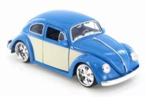 1959 Volkswagen Beetle Hard Top, Blue/White Panel - Jada 99049 - 1/24 Scale Diecast Model Toy Car