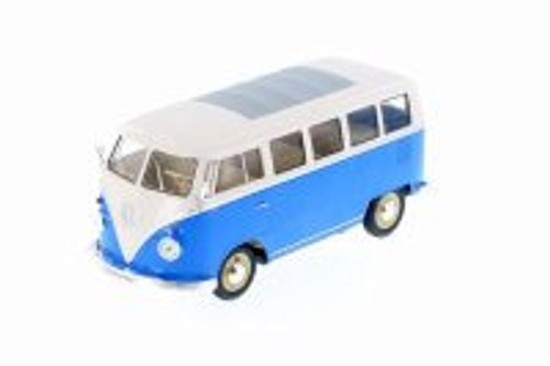 1963 Volkswagen Classical T1 Bus, Blue w/ White - Welly 22095WBU - 1/24 Scale Diecast Model Toy Car