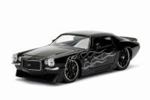 1971 Chevy Camaro, Black w/ Flames - Jada 99977DP1 - 1/24 Scale Diecast Model Toy Car