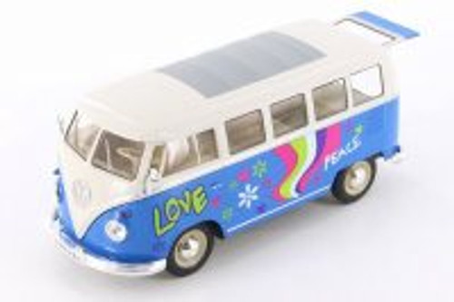 1963 Volkswagen Classical T1 Bus w/ Love/Peace Decals, Blue - Welly 22095A1WBU - 1/24 Scale Diecast Model Toy Car