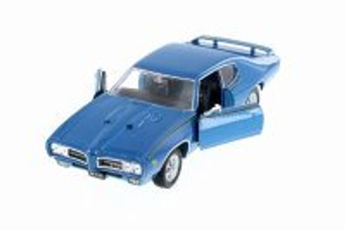 1969 Pontiac GTO, Blue - Welly 22501WBU - 1/24 Scale Diecast Model Toy Car