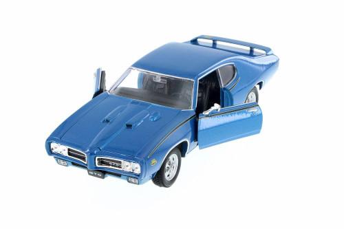 1969 Pontiac GTO, Blue - Welly 22501WBU - 1/24 Scale Diecast Model Toy Car