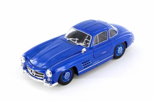 Mercedes-Benz 300SL, Royal Blue - Welly 24064/4D - 1/24 Scale Diecast Model Toy Car
