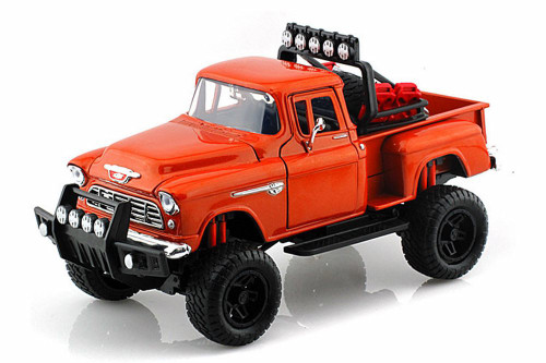 1955 Chevy 5100 Stepside Pick Up, Orange - Motormax 79133OR - 1/24 scale Diecast Model Toy Car