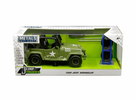 1992 Jeep Wrangler, Matte Army Green - Jada 30520-MJ - 1/24 scale Diecast Model Toy Car
