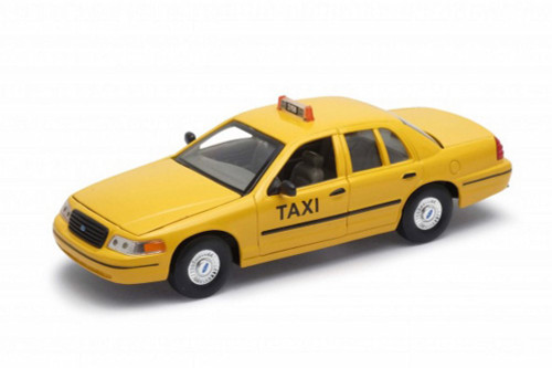 1999 Ford Crown Victoria Taxi, Yellow - Welly 22082WTX - 1/24 scale Diecast Model Toy Car