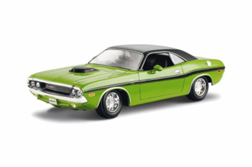 1970 Dodge Challenger R/T Coupe Hard Top, Green - Maisto 31263GN - 1/24 scale Diecast Model Toy Car