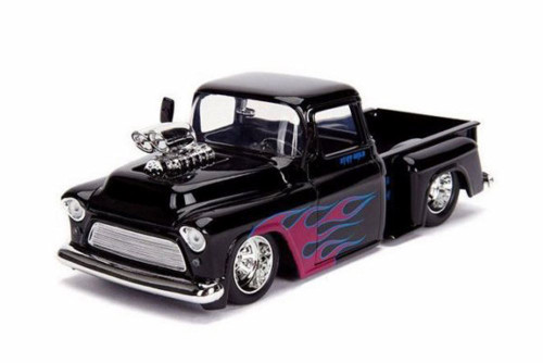 1955 Chevy Stepside Pickup, Glossy Black - Jada 30980DP1 - 1/24 scale Diecast Model Toy Car