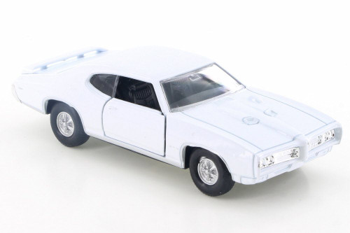 "1969 Pontiac GTO, White - Welly 43714D - 4.5"" Diecast Model Toy Car"