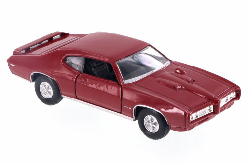 "1969 Pontiac GTO, Red - Welly 43714D - 4.5"" Diecast Model Toy Car"