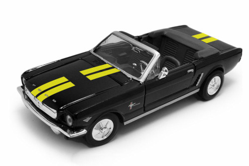 1964 Ford Mustang Open Convertible, Black with Yellow - Showcasts 73212AC/KL - 1/24 scale Diecast Model Toy Car
