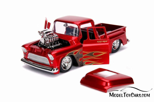 1955 Chevy Stepside Pickup, Glossy Red - Jada 30980DP1 - 1/24 scale Diecast Model Toy Car