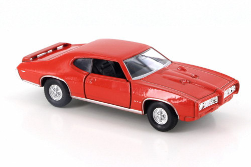 "1969 Pontiac GTO, Orange - Welly 43714D - 4.5"" Diecast Model Toy Car"