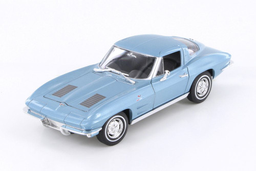 1963 Chevy Corvette Hard Top, Blue - Welly 24073WBU - 1/24 scale Diecast Model Toy Car