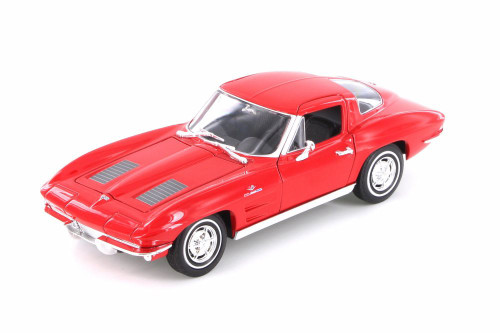 1963 Chevy Corvette Hard Top, Red - Welly 24073WR - 1/24 scale Diecast Model Toy Car