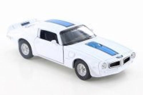 "1972 Pontiac Firebird Trans AM, White w/ Blue - Welly 43735D - 4.5"" Diecast Model Toy Car"