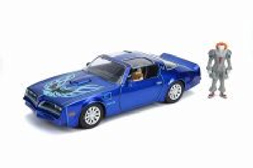1977 Pontiac Firebird Trans Am with Pennywise Figure, IT Chapter Two - Jada 31118 - 1/24 scale Diecast Model Toy Car