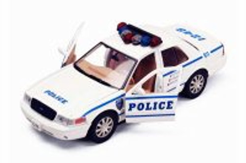 2010 Ford Crown Victoria Police Interceptor, White - Motor Max 76482WHW - 1/24 Scale Diecast Model Toy Car