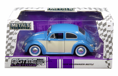 1959 Volkwagen Beetle, Blue with Cream - Jada 99050-MJ - 1/24 scale Diecast Model Toy Car