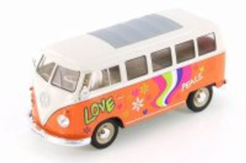 1963 Volkswagen Classical T1 Bus with Love/Peace Decals, Orange - Welly 22095A1/A3D - 1/24 scale Diecast Model Toy Car