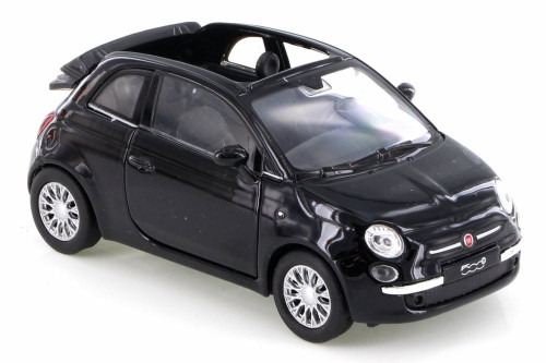 2010 Fiat 500C, Black - Welly 43612D - Diecast Model Toy Car