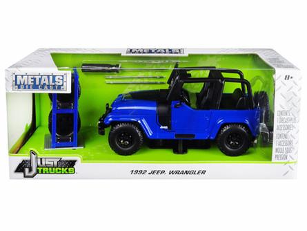 1992 Jeep Wrangler, Blue - Jada 31059-MJ - 1/24 Scale Diecast Model Toy Car