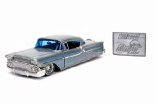 1958 Chevy Impala Hard Top with Diecast Mosaic Tile, Silver with Blue - Jada 31082 - 1/24 Scale Diecast Model Toy Car