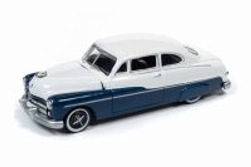 1949 Mercury Sedan, Biscay Blue and White - Round 2 RC010/48A - 1/64 scale Diecast Model Toy Car