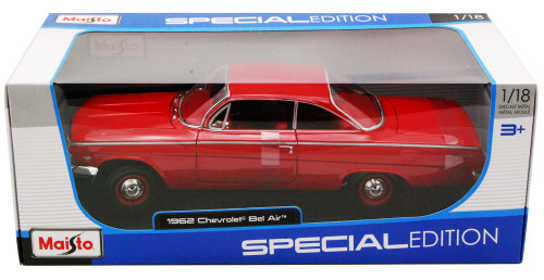 1962 Chevy Bel Air, Red - Maisto 31641 - 1/18 Scale Diecast Model Toy Car