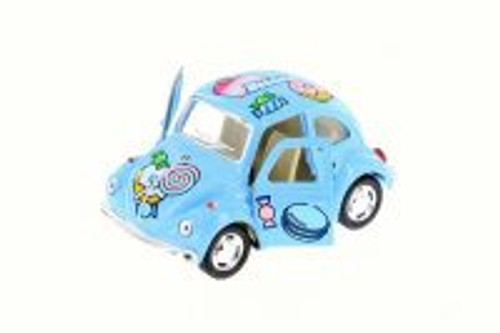 1967 Volkswagen Classic Beetle with Decals, Blue - Kinsmart 4026DYF - 4 inch  Diecast Model Toy Car