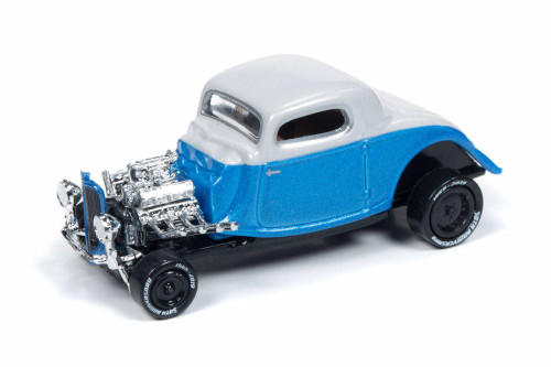 1934 Ford Coupe, Metallic Blue and Pearl White - Round 2 JLCG018/48B - 1/64 Scale Diecast Model Toy Car