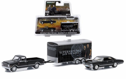 1967 Chevy Impala SS Supernatural w/ C-10 and Trailer, Black - Greenlight 51006 - 1/64 Scale Diecast Model Toy Car