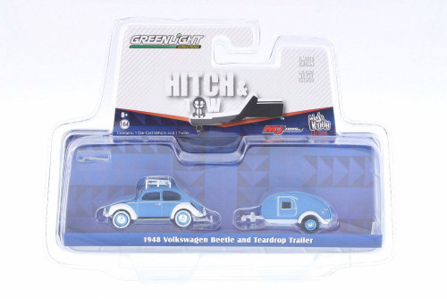 1948 Volkswagen Classic Beetle w/ Teardrop Trailer, Blue - Greenlight 51035 - 1/64 Scale Diecast Model Toy Car