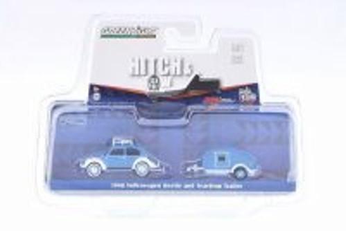 1948 Volkswagen Classic Beetle w/ Teardrop Trailer, Blue - Greenlight 51035 - 1/64 Scale Diecast Model Toy Car