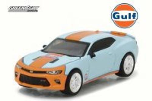 Gulf Oil 2017 Chevy Camaro SS, Blue w/Orange - Greenlight 29908 - 1/64 Scale Diecast Model Toy Car