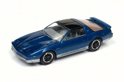 1985 Pontiac Firebird T/A, Bright Blue Poly/Silver - Round 2 JLCG011/24A - 1/64 Scale Diecast Model Toy Car