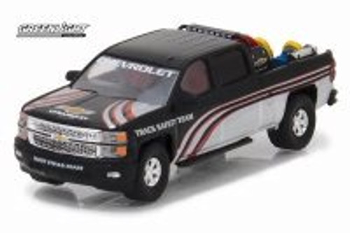 2015 Chevrolet Silverado Pickup Truck with Safety Equipment in Truck Bed, Black - Greenlight 29896 - 1/64 Scale Diecast Model Toy Car