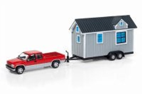 2002 Chevrolet Silverado w/ Tiny House, Red w/ Gray - Round 2 JLTH001B - 1/64 Scale Diecast Model Toy Car