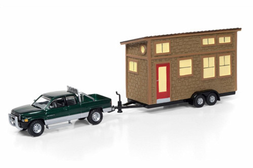 1996 Dodge Ram 1500 w/ Tiny House, Green - Round 2 JLTH001B - 1/64 Scale Diecast Model Toy Car