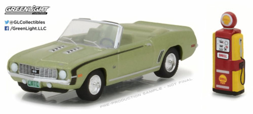 1969 Chevrolet Camaro Convertible with Vintage Gas Pump, Green - Greenlight 97010B/48 - 1/64 Scale Diecast Model Toy Car