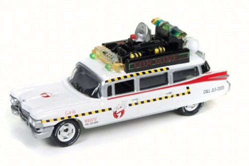 1959 Ghostbusters ECTO 1A Cadillac ElDorado, White - Round 2 JLSS004/24 - 1/64 Scale Diecast Model Toy Car
