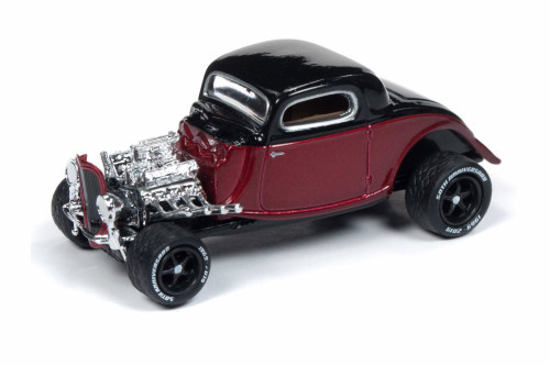 1934 Ford Coupe, Metallic Red and Black - Round 2 JLCG018/48A - 1/64 Scale Diecast Model Toy Car